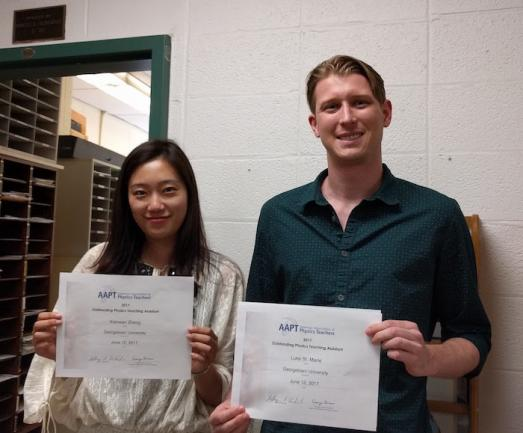 Xiaowan Zheng and Luke St. Marie with their TA Awards
