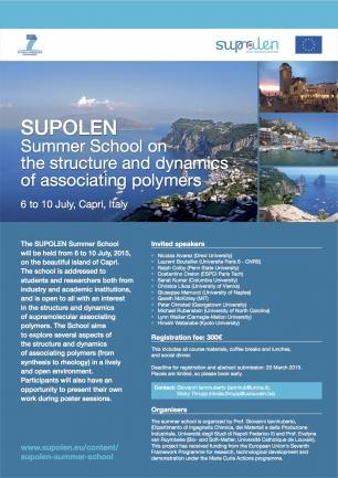 Supolen Summer in Polymer Dynamics 6-10 July 2015
