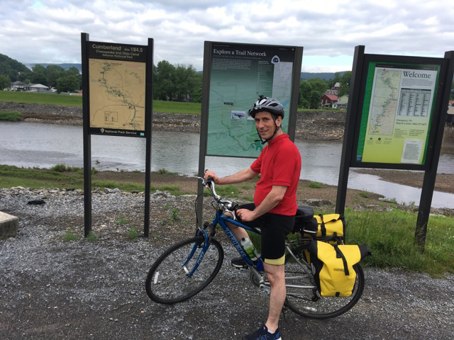 Jeff Urbach, photographed by Team Georgetown teammate Peter Olmsted, at the start of their three-day ride along the C&O canal towpath from Cumberland to Georgetown in May.